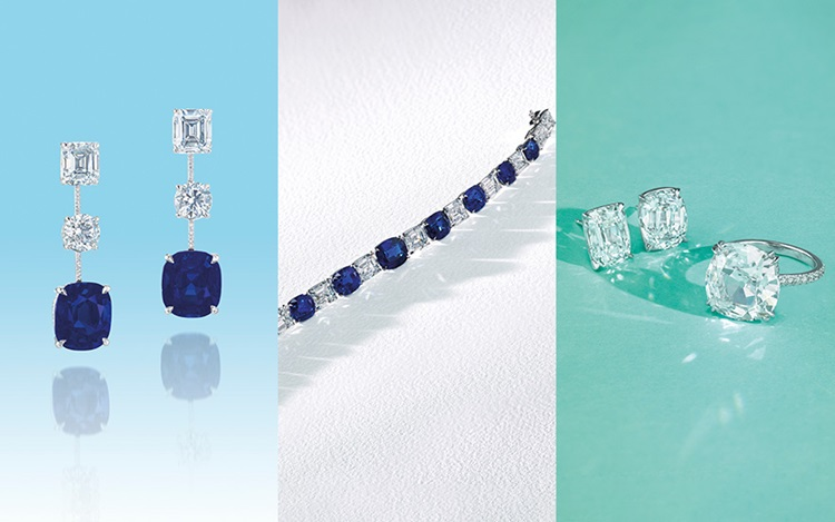 Blue velvet and pools of cryst auction at Christies
