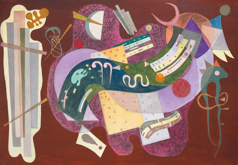 Wassily Kandinsky (1866-1944), Rigide et Courbé, 1935. Oil and sand on canvas, 44⅞ x 63⅞ in (114 x 162.4 cm). Sold for $23,319,500 on 16 November 2016