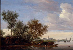 Salomon van Ruysdael, Ferry Boat with cattle on the River Vecht near Nijenrode