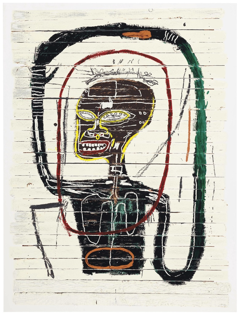 After Jean-Michel Basquiat (1960-1988), Screenprint in colours, on museum board, signed and dated in pencil by the Basquiat Foundation administrators on a label on the reverse, numbered PP 15 (a printers proof, the edition was 85), published by Flatiron Editions, New York. Image 57½ x 42 in (1460 x 1067 mm). Sheet 60⅜ x 45½ in (1533 x 1156 mm). Estimate $40,000-60,000. This work is