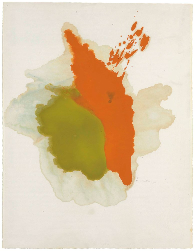 Helen Frankenthaler (1928-2011), Untitled, 1961. Signed 'Frankenthaler' (lower right). Watercolour and gouache on paper. 24⅞ x 19⅛ in (63.2 x 48.6 cm). Estimate $30,000-50,000. This lot is offered in MANHATTA, 10-17 October 2017, Online