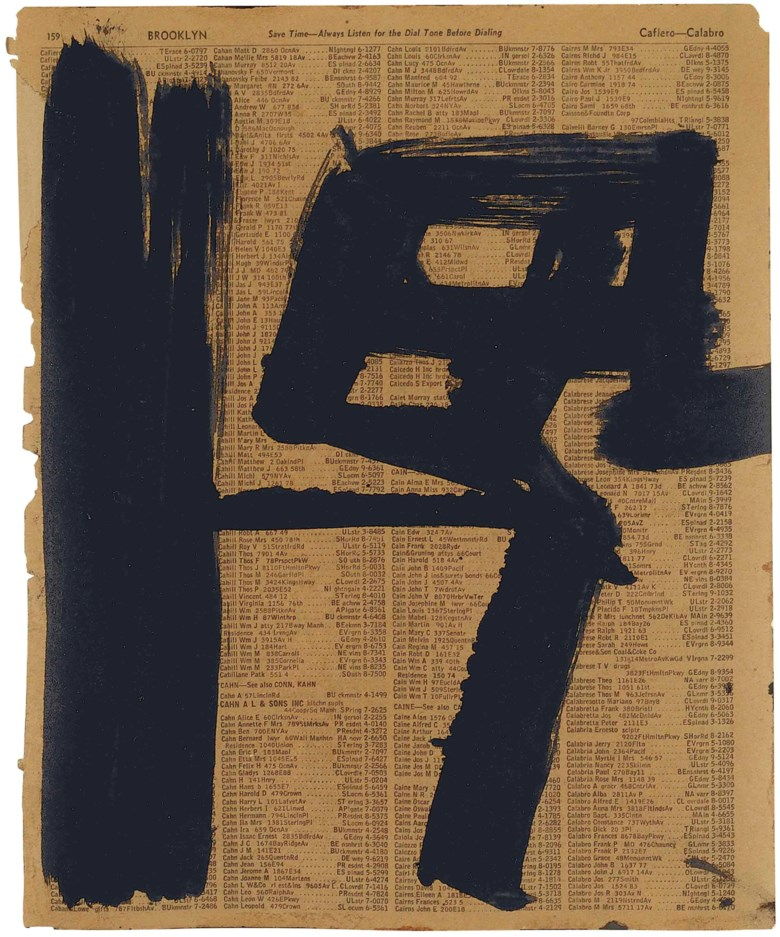 Franz Kline (1910-1962), Untitled. Ink on telephone book page 11 x 8¾ in (27.9 x 22.2 cm). Painted in 1950-1951. Estimate                    $50,000-70,000. This lot is offered in MANHATTA, 10-17 October 2017, Online