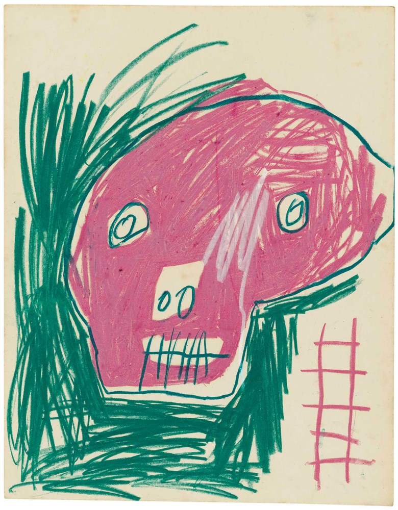 Jean-Michel Basquiat (1960-1988), Untitled, 1980. Wax crayon on paper. 13⅞ x 11 in (35.2 x 28 cm). Estimate $80,000-100,000. This lot is offered in MANHATTA, 10-17 October 2017, Online