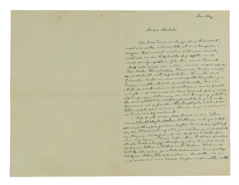 Quantum theory, and a political assassin, Berlin, 29 April 1917. In German, 2½ pages, 207 x 138 mm. Sold for $11,875, 6 Dec 2017, Online