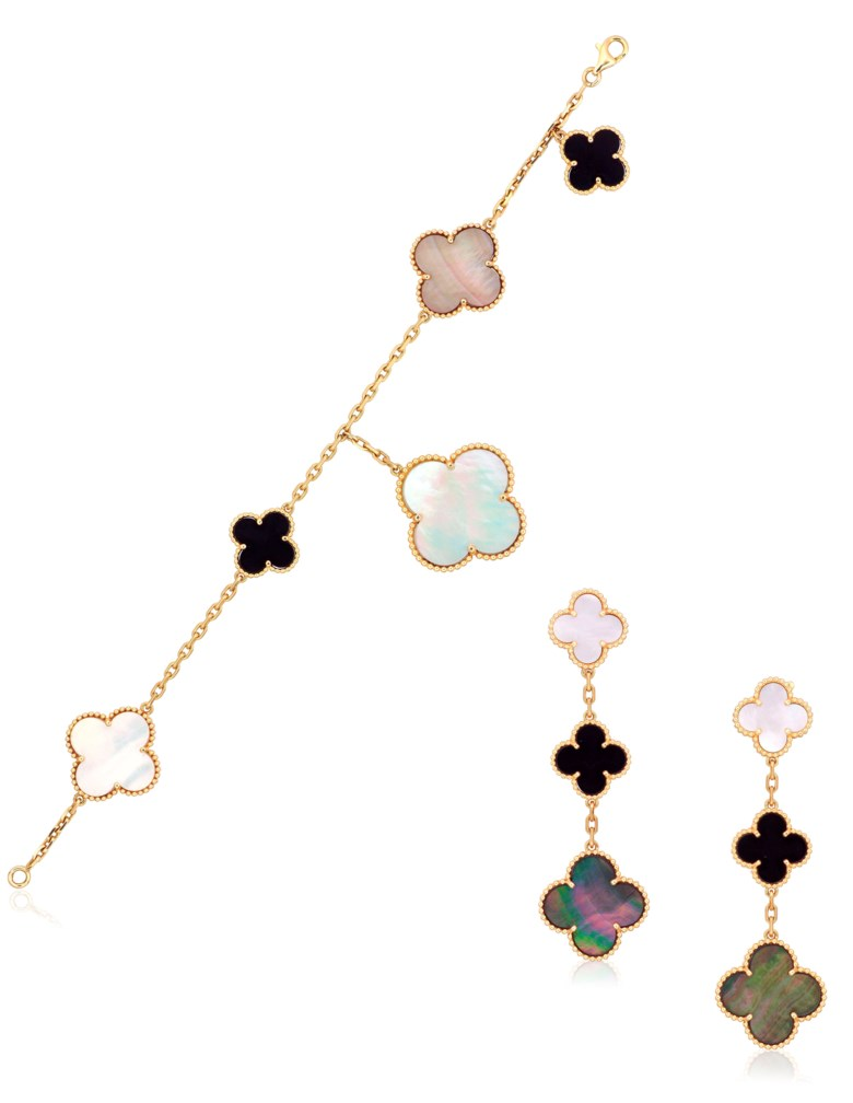 Van Cleef & Arpels Magic Alhambra set of onyx and mother-of-pearl jewellery. Sold for HK$81,250, 8 November 2017, Christie's Online