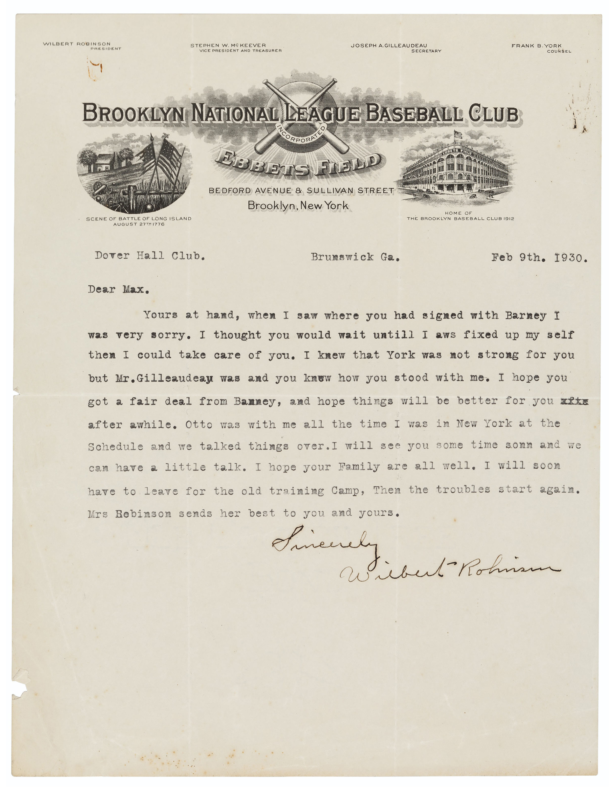 WILBERT ROBINSON SIGNED LETTER