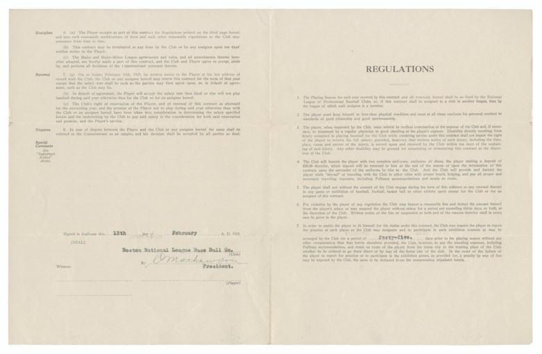 Christy Mathewson signed contract. 8½ x 11 in. Sold for $8,125 in August 2017 in The Golden Age of Baseball  at Christie's, online