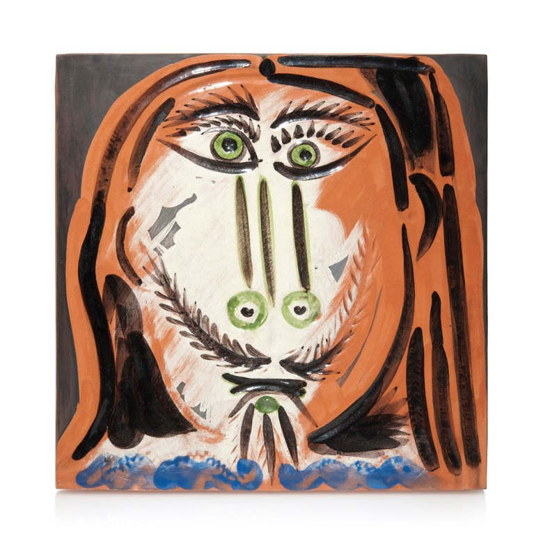 Pablo Picasso (1881-1973), Tête dhomme aux cheveux longs (A.R. 597), conceived in December 1968  January 1969 and executed in a numbered edition of 50. 12¼ x 12¼ in (31.2 x 31.2 cm). Estimate                    £7,000-10,000. Offered in Picasso Ceramics — Online, 15-22 June 2018