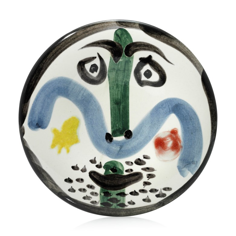 Pablo Picasso (1881-1973), Visage no. 130 (A.R. 479), conceived in 1963 and executed in a numbered edition of 500. Diameter 10 in (25.5 cm). Estimate                    £5,000-7,000. Offered in Picasso Ceramics — Online, 15-22 June 2018