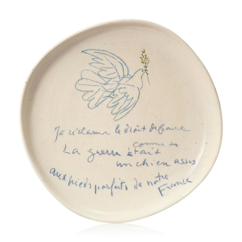 Pablo Picasso (1881-1973), Colombe avec un rameau. Estimate                    £60,000-80,000. Offered in Picasso Ceramics — Online, 15-22 June 2018