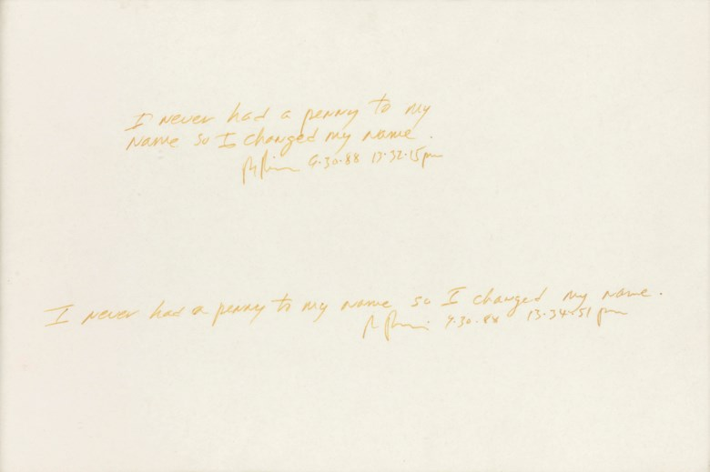Richard Prince (b. 1949), I never had a penny to my name so I changed my name, 1988. Ink on paper. 8⅛ x 11½ in (20.6 x 29.3cm). Estimate £5,000-7,000. This lot is offered in First Open Online, 9-17 April 2018