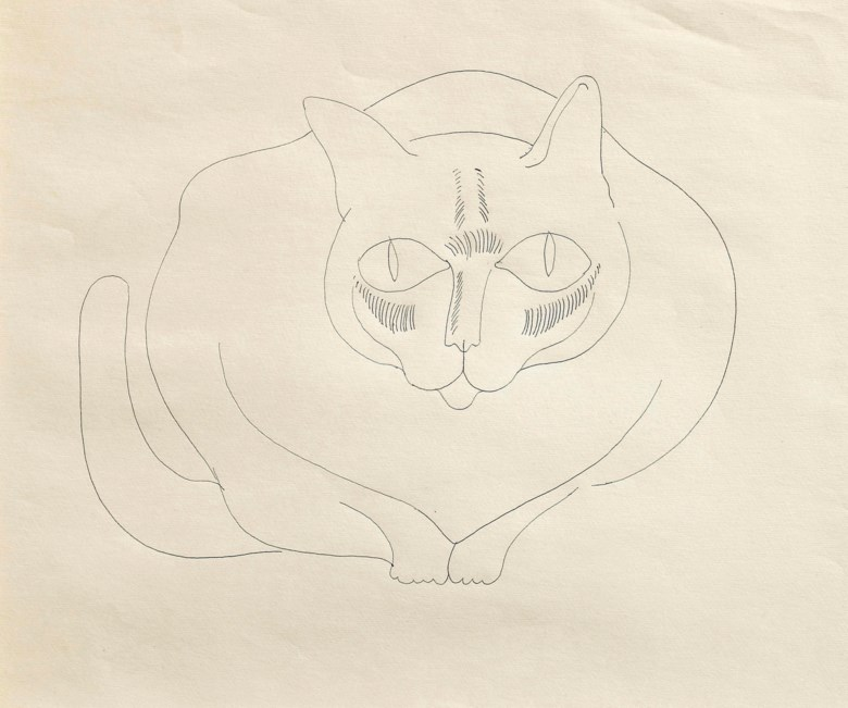 Andy Warhol (1928-1987), Cat, Crouching, circa 1957. Pen on paper. 13⅝ x 17⅞ in (34.6 x 45.5 cm). Estimate £4,000-6,000. This lot is offered in First Open Online, 9-17 April 2018