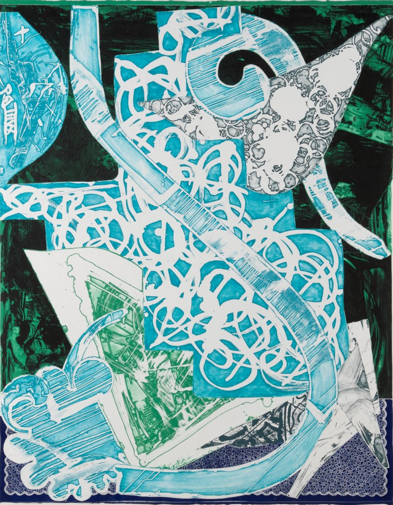 Frank Stella (b. 1936), Swan Engraving Blue Green Gray, 1984. Colour etching with relief and graphite on paper. 65¾ x 52 in (167.1 x 132cm). Estimate £5,000-7,000. This lot is offered in First Open Online, 9-17 April 2018