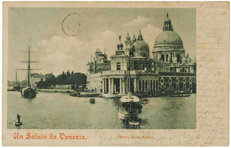A trip to Venice with his father, Venice, 11 September 1900. In German, in gothic script, three lines in pencil below the photographic image of the Punta della Dogana and Santa Maria della Salute; the postcard is also inscribed and signed in pencil down the right margin by Einsteins father, Hermann; address in Hermann Einsteins hand to Pauline Einstein in Milan 89 x 140 mm. Estimate