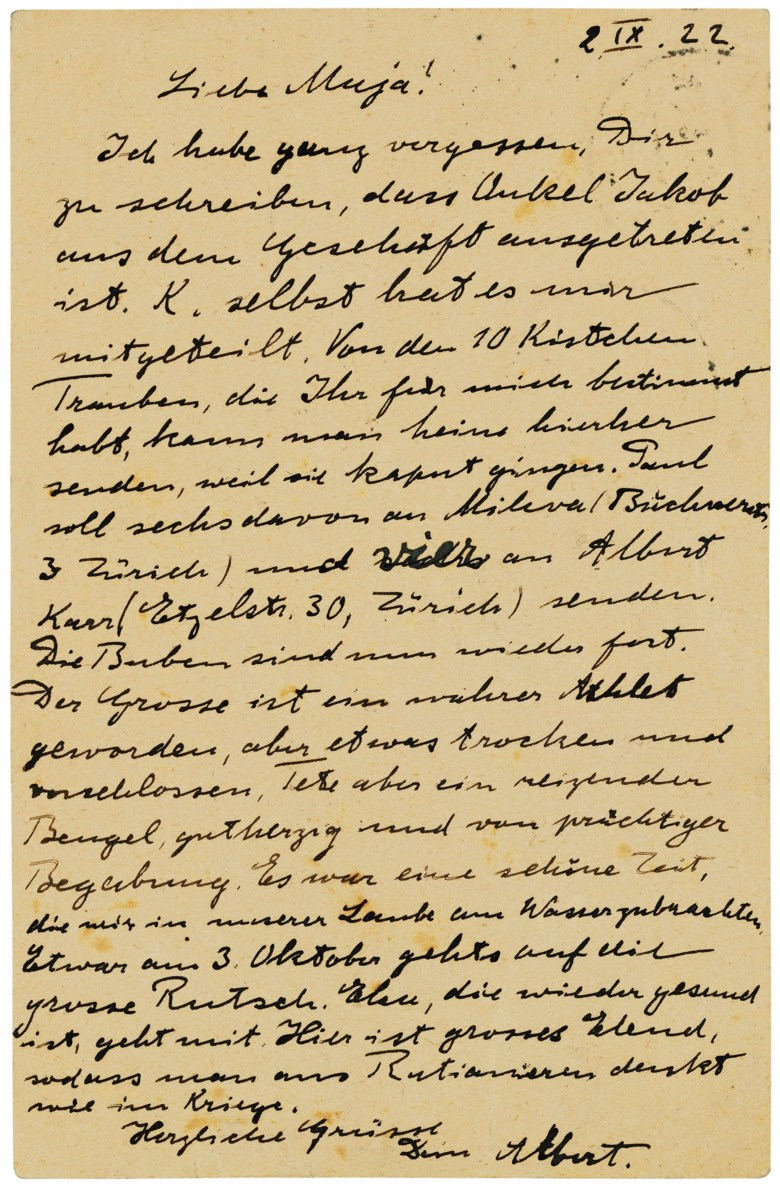 The end of a lovely summer, Berlin, 2 September 1922. One page, 140 x 90 mm; Elsa Einstein has added a message on the blank half of the address page. Estimate                    £1,500-2,000. Offered in Einstein and Family Letters and Portraits, 2-9 May 2018, Online