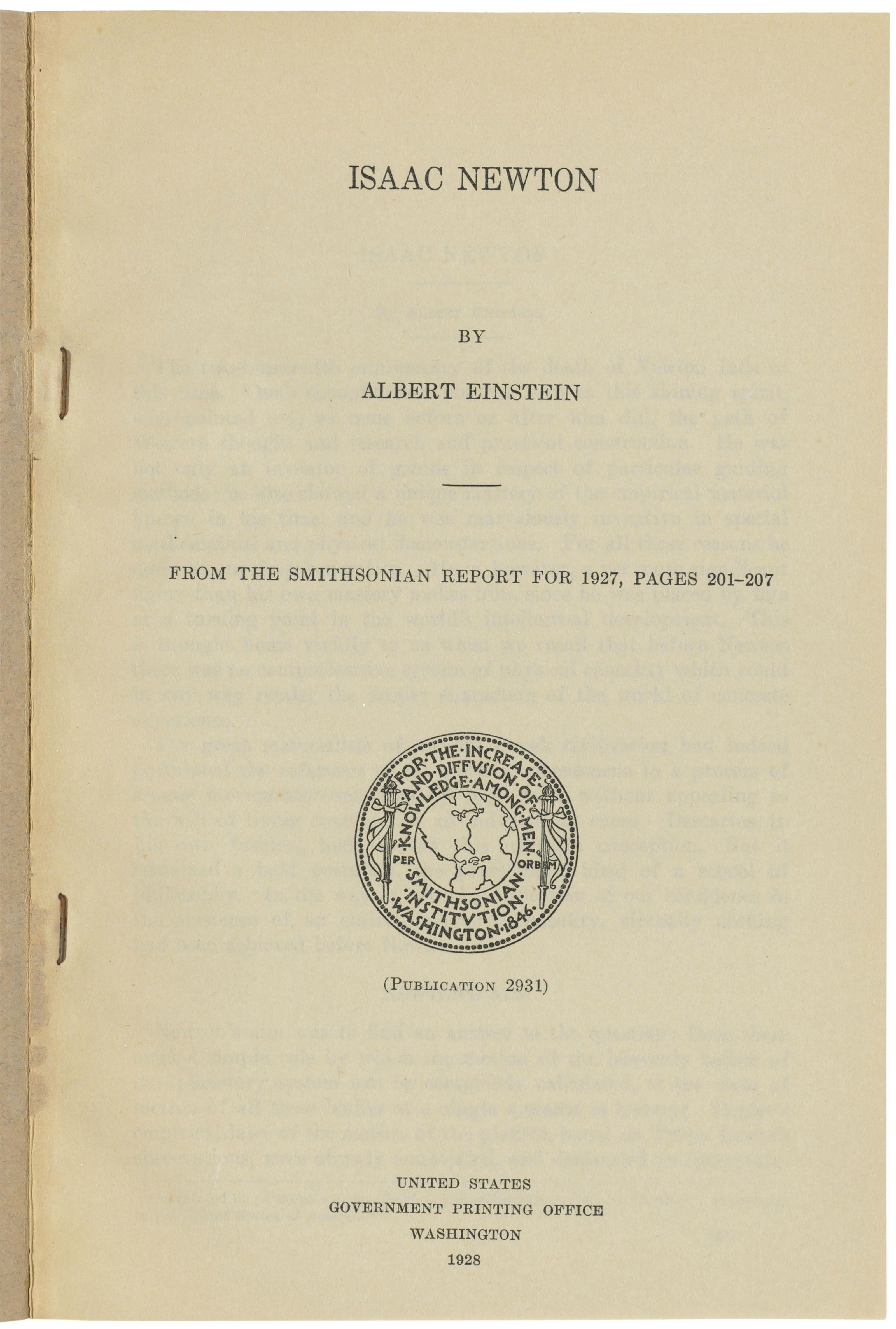 Einstein on Newton: Hans Albert Einstein's copy