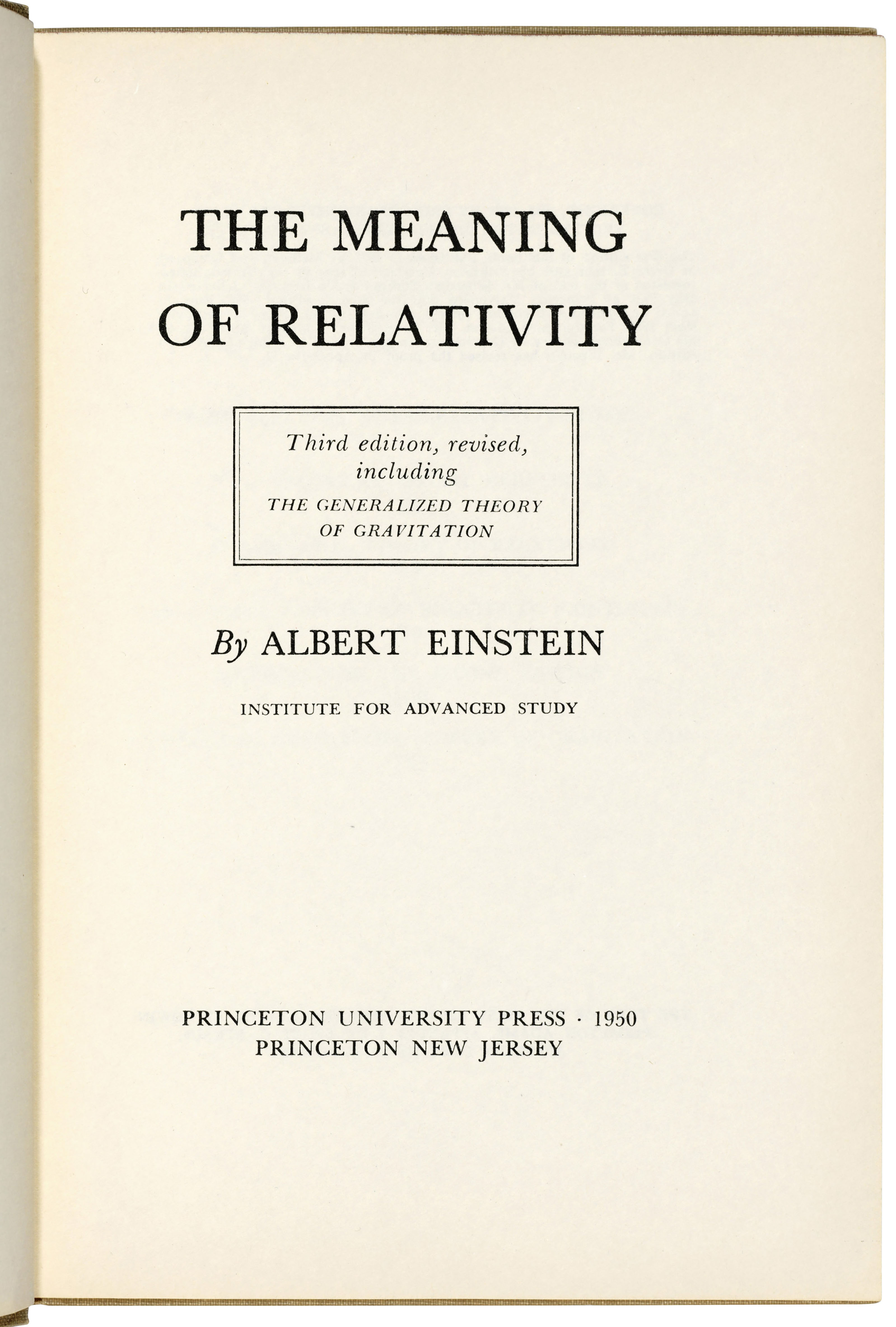 The Meaning of Relativity: authorial presentation copy