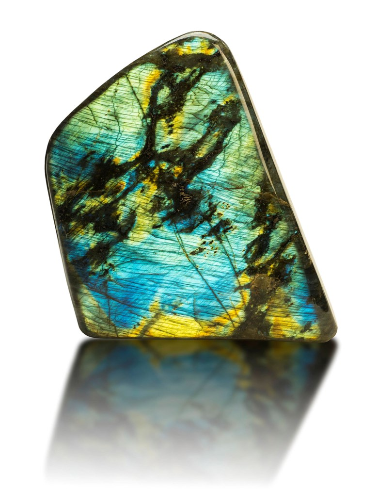 A specimen of labradorite, Madagascar. 9 x 7 x 3 in (22.5 x 17.5 x 7.5 cm). Estimate                    £800-1,000. This lot is offered in Sculpted by Nature Fossils, Minerals and Meteorites, 10-17 April 2018, Online