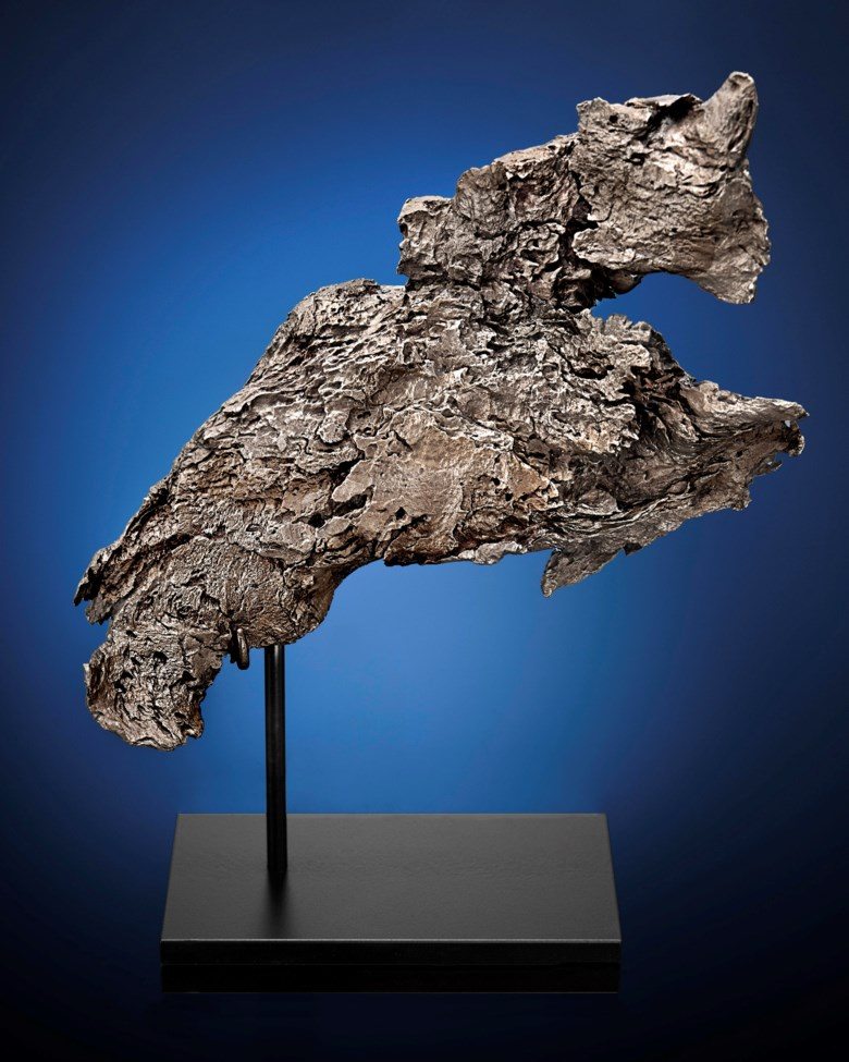 A Dronino meteorite, iron, ataxite (ungrouped), Ryazan district, Russia (54° 44 N, 41° 25 E). 9⅔ x 4¾ x 2 in (244 x 119 x 53 mm). Estimate £20,000-30,000. This lot is offered in Sculpted by Nature Fossils, Minerals and Meteorites, 1-8 November 2018, Online