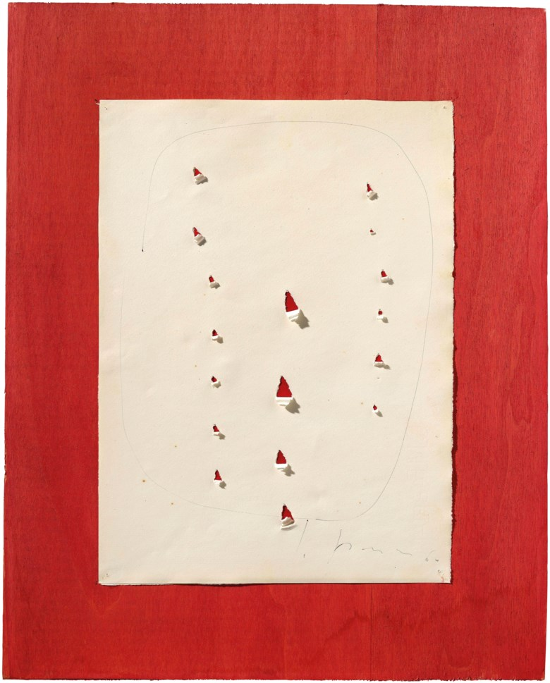 Lucio Fontana (1899-1968), Concetto spaziale, 1960. Ballpoint pen and incisions on paper on board. Estimate                    £15,000-20,000. Offered in First Open Online, 12-20 September 2018