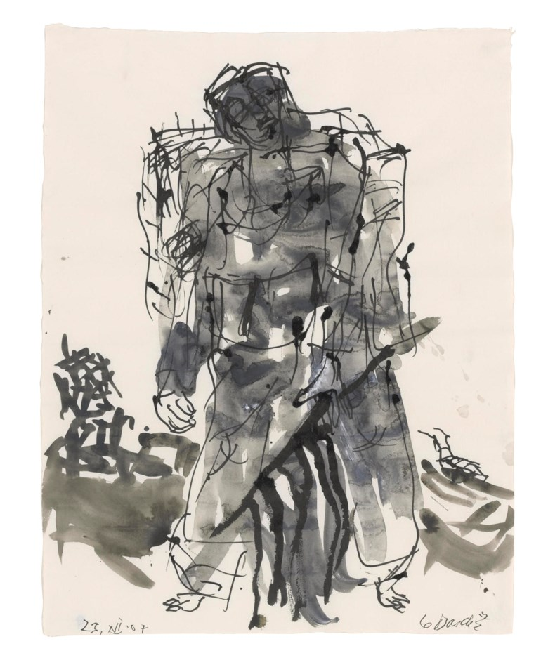 Georg Baselitz (b. 1938), Modell war ein Roter (Remix) [Model Was a Red One (Remix)]. Ink and watercolour on paper. 26⅛ x 20⅛ in (66.2 x 51 cm). Estimate                    £10,000-15,000. Offered in First Open Online, 12-20 September 2018
