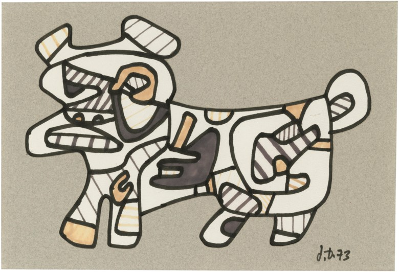 Jean Dubuffet (1901-1985), Chien (Dog), 1973. 8¼ x 11¾ in (21 x 29.8 cm). Estimate                    £10,000-15,000. Offered in First Open Online, 12-20 September 2018