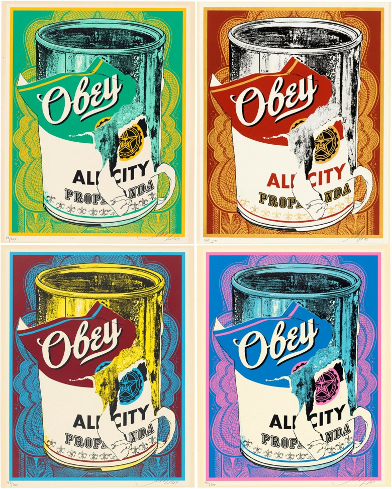 Shepard Fairey (b. 1970), Soup Can I, II, III & IV. Sheet 507 x 405 mm (and similar). Estimate                    £5,000-7,000. Offered in Contemporary Edition, 14-26 September 2018, Online