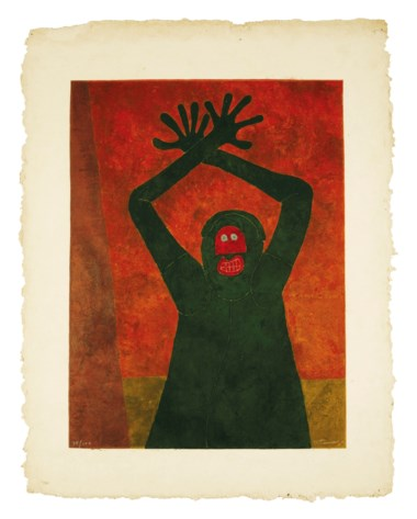 Rufino Tamayo (1899-1991), Protesta. Sheet 38¾ x 30½ in (98.4 x 77.5 cm). Estimate $3,000-5,000. This lot is offered in Latin American Art Online, 16-28 November 2018, Online