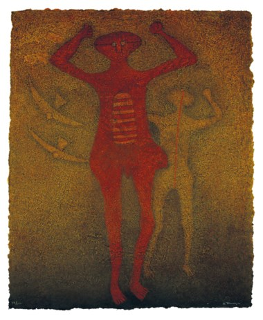 Rufino Tamayo (1899-1991), Personajes con pájaros. Sheet 43¾ x 35½ in (111.1 x 90.2 cm). Estimate $5,000-7,000. This lot is offered in Latin American Art Online, 16-28 November 2018, Online
