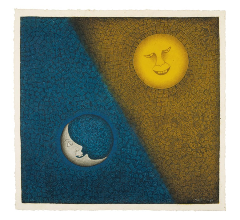 Rufino Tamayo (1899-1991), Luna y sol. Sheet 37¼ x 39¼ in (94.6 x 99.7 cm). Estimate $5,000-7,000. This lot is offered in Latin American Art Online, 16-28 November 2018, Online