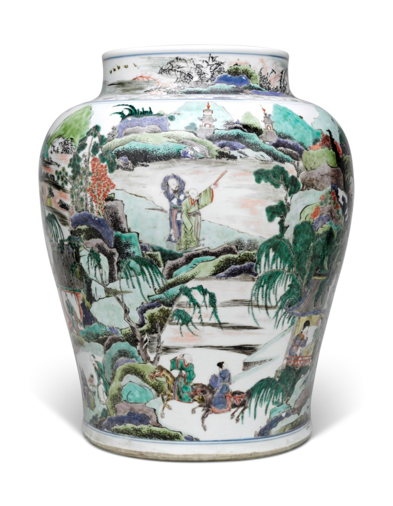 A large famille verte baluster jar, Kangxi period (1662-1722). Estimate                    $6,000-8,000. This lot is offered in The Art of China New York, Spring Edition, 20-27 March 2018, Online