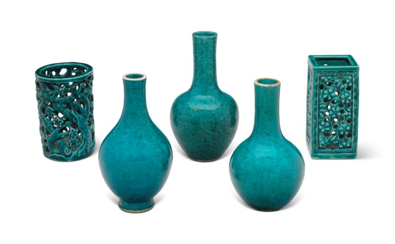Five turquoise-glazed vessels, Kangxi period and later. Sold for $3,000, 27 Mar 2018, Online