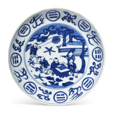 A blue and white dish, Wanli six-character mark in underglaze blue within a double circle and of the period (1573-1620). Estimate $3,000-5,000. Offered in The Art of China New York, Winter Edition , 5-12 December 2018, Online