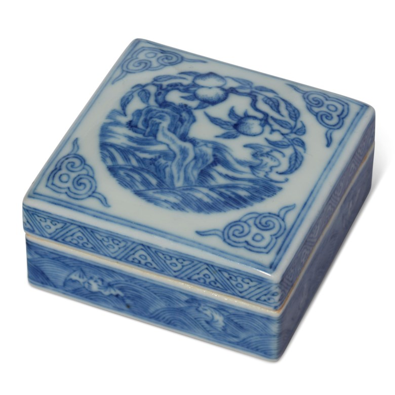 A blue and white square box and cover, 18th-19th century. 2¼ in (5.7 cm) square. Estimate $1,500-2,500. Offered in The Art of China New York, Winter Edition, 5-12 December 2018, Online