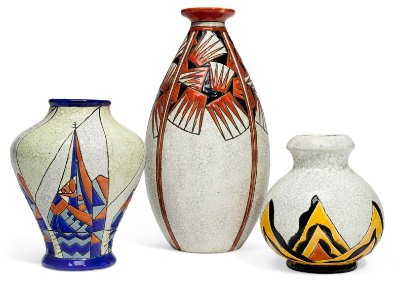 Boch Frères Keramis, three vases, 20th century. Estimate                    $800-1,200. Offered in The Collection of Melva Bucksbaum Decorative Arts and Design, 16-23 August 2018, Online