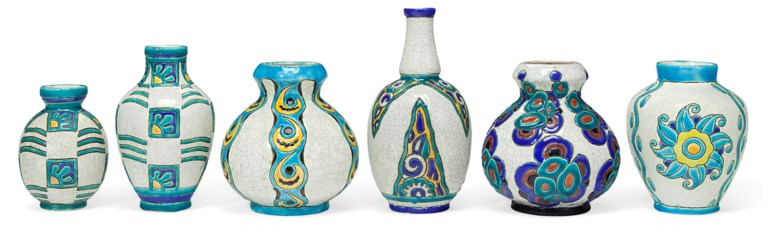 Boch Frères Keramis, six vases, 20th century. Estimate                    $1,000-1,500. Offered in The Collection of Melva Bucksbaum Decorative Arts and Design, 16-23 August 2018, Online