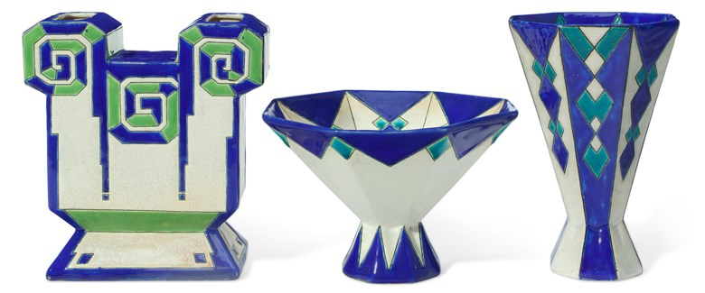 Boch Frères Keramis, three vessels, 20th century. Estimate                    $1,000-1,500. Offered in The Collection of Melva Bucksbaum Decorative Arts and Design, 16-23 August 2018, Online