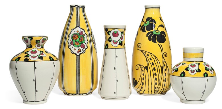 Boch Frères Keramis, five vases, first half of 20th century. Estimate $1,000-1,500. This lot is offered in The Collection of Melva Bucksbaum Decorative Arts and Design, 16-23 August 2018, Online