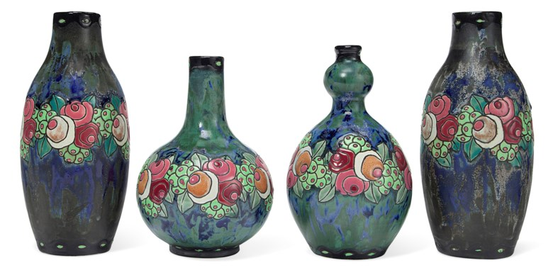 Boch Frères Keramis, four vases, first half of 20th century. Estimate $800-1,200. This lot is offered in The Collection of Melva Bucksbaum Decorative Arts and Design, 16-23 August 2018, Online
