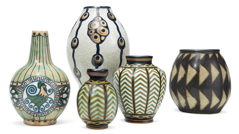 Boch Frères Keramis, five vases, 20th century. Estimate                    $800-1,200. Offered in The Collection of Melva Bucksbaum Decorative Arts and Design, 16-23 August 2018, Online