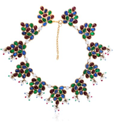 Chanel multicolour poured-glass, faux pearl and rhinestone necklace. Sold for $1,750 on 14 June 2018, Online