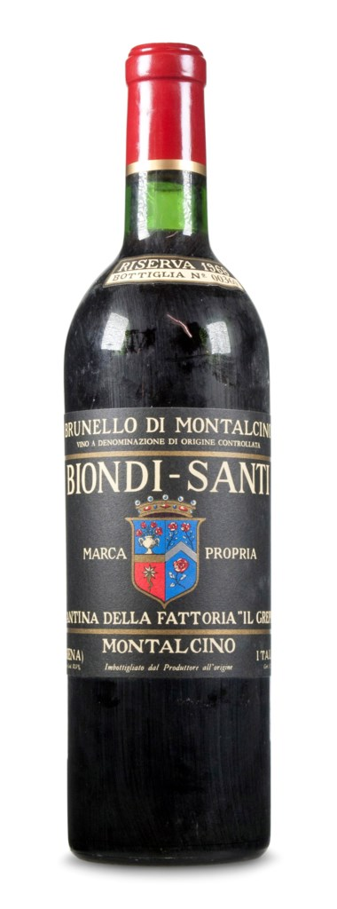 Biondi Santi, Brunello di Montalcino Riserva 1968. Estimate                    $3,500-4,500. This lot is offered in Christie's Wine OnlineNYC, 27 March to 10 April 2018, Online
