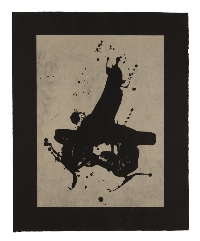 Robert Motherwell (1915-1991), Black on Black, executed in 1978. This work is number five from an edition of 58. 27 ¾ x 22 ⅛ in (70.5 x 56.2 cm). Estimate                    $2,000-3,000. This lot is offered in Horizon  Post-War and Contemporary Art, 13-23 August 2018, Online
