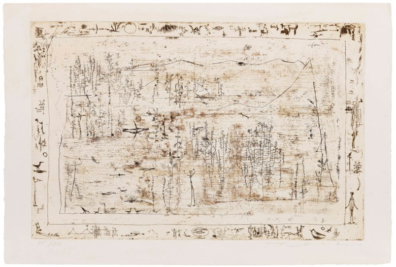 Zao Wou-Ki (1920-2013), Flore et Faune, executed in 1951. This work is number 75 from an edition of 200. Sheet 14⅞ x 22⅜ in (37.8 x 56.8 cm). Estimate                    $3,000-5,000. This lot is offered in Horizon  Post-War and Contemporary Art, 13-23 August 2018, Online