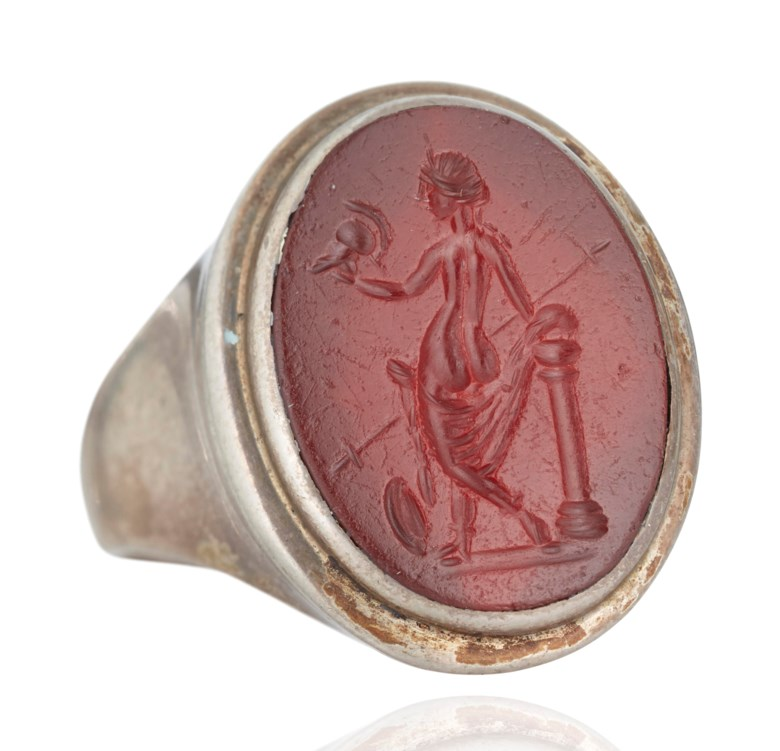 A Roman red jasper ringstone with Venus victrix, circa 1st century AD. ¾ in (1.9 cm) high; ring size 9¾. Sold for $2,500, 6 Dec 2018, Online