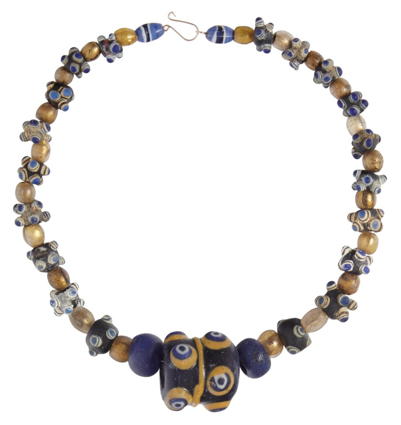 An Eastern Mediterranean glass eye-bead necklace, circa 4th century BC to 2nd century AD. 16 in (41 cm) long as strung. Sold for $3,000, 6 Dec 2018, Online