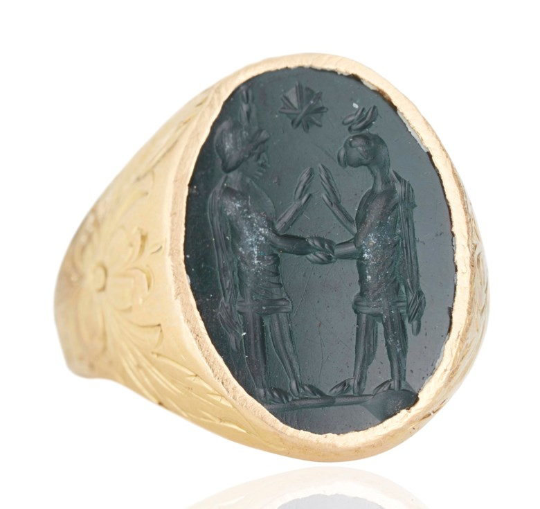 "A Roman green jasper ""magic gem"", circa 3rd century AD. ⅝ in (1.5 cm) high; ring size 8. Sold for $5,250, 6 Dec 2018, Online"