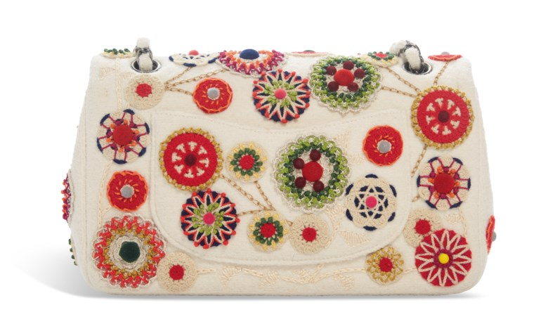 A Metiers DArt Paris-Salzburg multicolour felt embroidered double flap bag, Chanel, 2015-2016. 24 w x 15 h x 7 d cm. Estimate $2,000-3,000. This lot is offered in  Handbags & Accessories, 20 November to 5 December 2018, Online