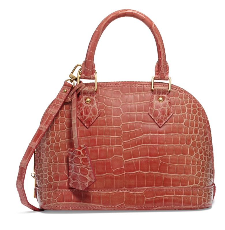 A shiny light pink crocodile Alma BB with gold hardware, Louis Vuitton, 2013. 24 w x 18 h x 11 d cm. Estimate $4,000-6,000. This lot is offered in  Handbags & Accessories, 20 November to 5 December 2018, Online