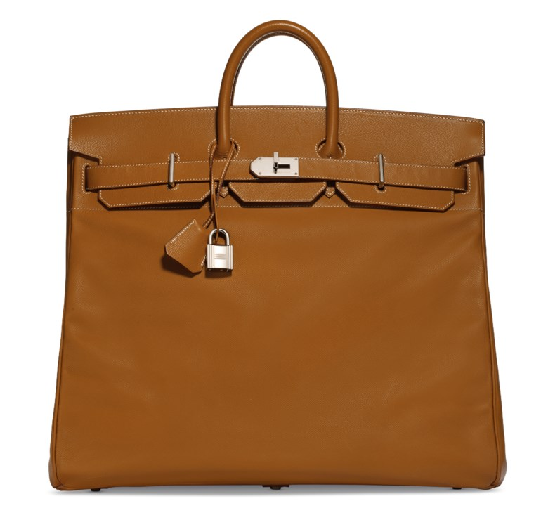 A Gold Epsom leather Hac Birkin 50 with palladium hardware, Hermès, 2008. 50 w x 40 h x 25 d cm. Estimate $10,000-15,000. This lot is offered in  Handbags & Accessories, 20 November to 5 December 2018, Online